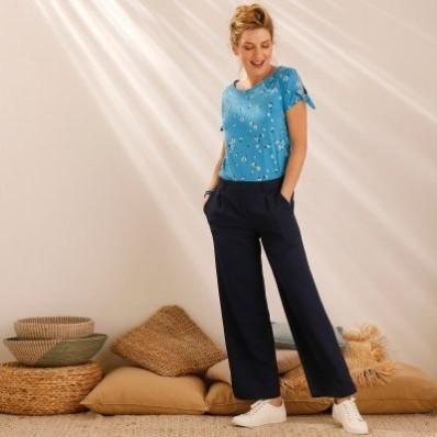 Široké zkrácené kalhoty