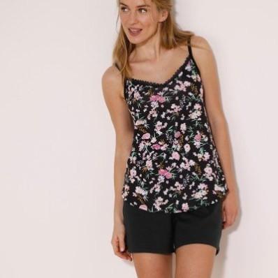 Pyžamový top s potiskem květin a nastavitelnými ramínky