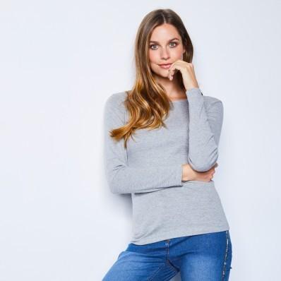 Tričko s dlouhými rukávy, šedý melír, ekologická výroba