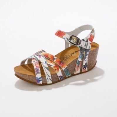 Kožené sandále na kline, s potlačou