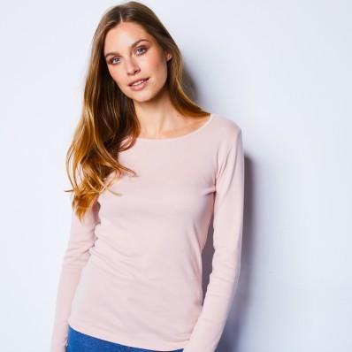 Tričko s dlouhými rukávy, pudrově růžové, ekologická výroba