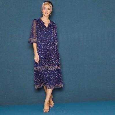 Polodlhé šaty s potlačou a rukávmi po lakte
