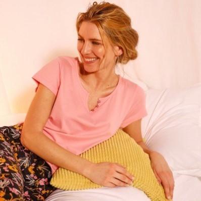 Pyžamové tričko s krátkými rukávy, jednobarevné růžové