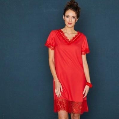 Krátke šaty s čipkovaným zakončením