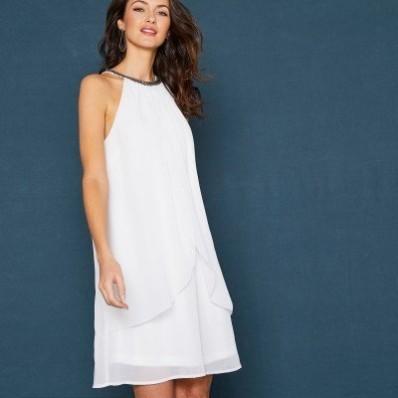 Krátké nařasené šaty, bez rukávů