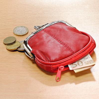 Kožená peňaženka, červená