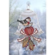 """Okenná dekorácia """"Vtáčik s jablkom"""""""