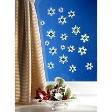 """18 obrázků na okno  """"Hvězdy"""",bílá-zelená"""