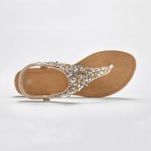 Žabkové sandály se zlatým štrasem