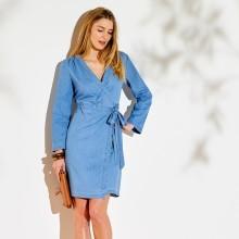 Denimové šaty s překřížením