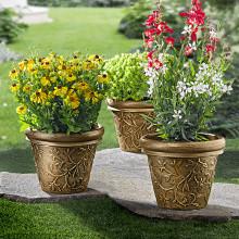 2 okrasné kvetináče s ornamentmi