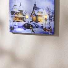 """LED obraz """"Zimná dedina"""" s hudbou"""