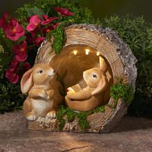 """Solárna dekorácia """"Zajačiky u obydlia"""""""