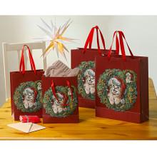 """4 dárkové tašky """"Vánoční kotě"""""""
