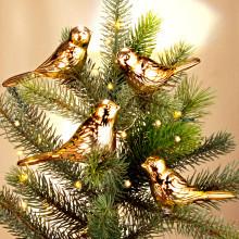 4 dekoratívne vtáčiky, zlatistá