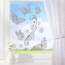 """10 obrázků na okno """"Zlatí motýli"""""""