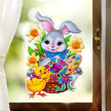"""Obrázek na okno """"Zajíc malířem"""""""