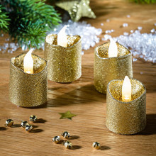 4 LED žiariace sviečky, zlatá