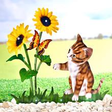 """Dekorácia """"Solárna kvetina s mačiatkom"""""""