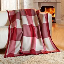 Příjemná deka, bordó-béžová
