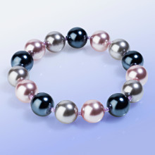 Náramok zo sklenených perál, sivá/fialová