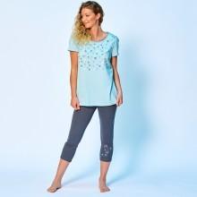Pyžamové tričko s potlačou kvetín a krátkymi rukávmi