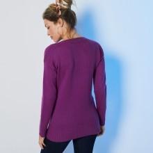 Žebrovaný pulovr s kulatým výstřihem