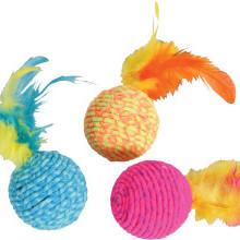 Piłka z kolorowymi piórkami dla kotów