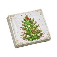 Papírové ubrousky s potiskem vánočního stromu, sada 20 ks
