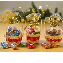 3dílná sada vánočních košíčků + sladkosti