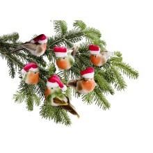 6 vtáčikov vo vianočných čiapkách