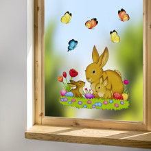 """Obrázek na okno """"Zajíci na louce"""""""