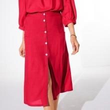 Jednobarevná dlouhá sukně s knoflíky