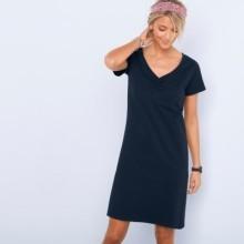 Jednobarevné šaty s krátkými rukávy