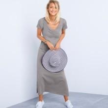 Dlouhé šaty s krátkými rukávy, jednobarevné