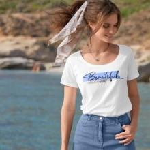 """Tričko s potiskem """"Beatiful day"""", ekologicky vyrobené"""