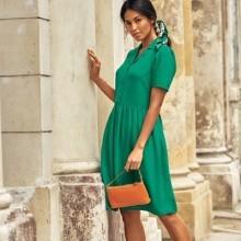 Jednofarebné košeľové šaty