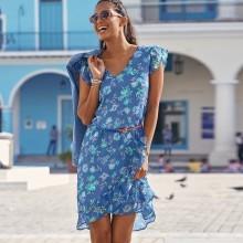 Volánové šaty s potiskem květin