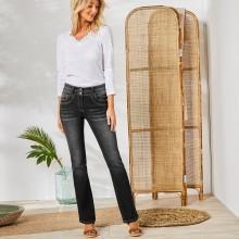 Strečové bootcut džíny v opraném vzhledu