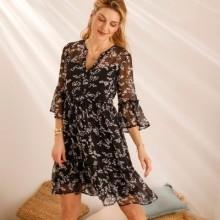 Volánové šaty s potlačou