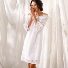 Krátke šaty s anglickou výšivkou