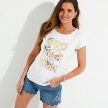 Tričko s kulatým výstřihem a zlatým potiskem, eco-friendly