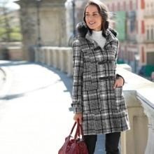 Kabát duffle-coat s potiskem kostky a s kapucí