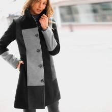Kabát s patchworkovým efektom