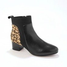 Kožené kotníkové boty s pruženkou a cvočky, leopardí vzor