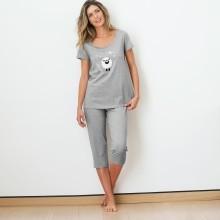 Pyžamo s 3/4 nohavicami s potlačou ovečky