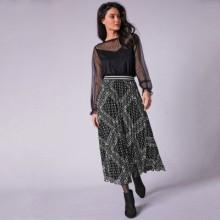 Dlhá plisovaná sukňa s potlačou