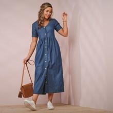 Džínové šaty s knoflíky