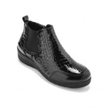 Kotníkové boty z lakované kůže, černé