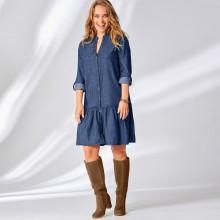 Volánové džínové šaty s knoflíky